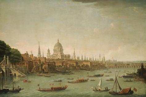 A Panoramic View of the City of London from the Thames Near the Water Gate of Somerset House Lámina giclée