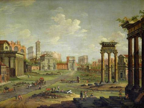The Campo Vaccino, Rome Looking Towards St. Francesca Romana and the Arch of Titus Giclee Print