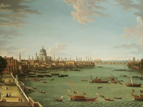 The Thames from the Terrace of Somerset House, Looking Towards the City, C.1745 Lámina giclée