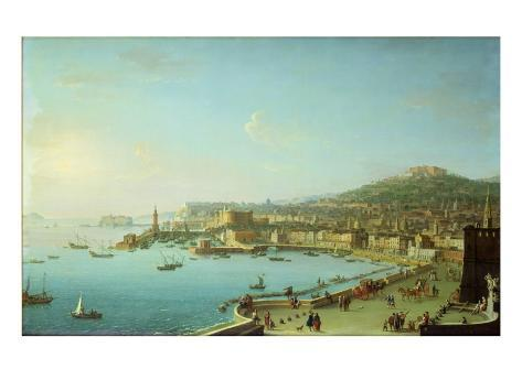 View of Naples with the Castel Nuovo Giclee Print