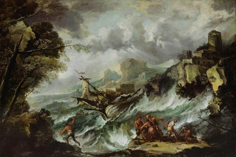 Seascape with Shipwreck, C.1700-07 Giclee Print