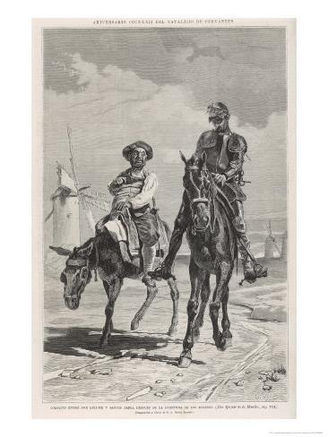Don Quixote and Sancho Panza Discuss the Combat with the Windmills Giclee Print