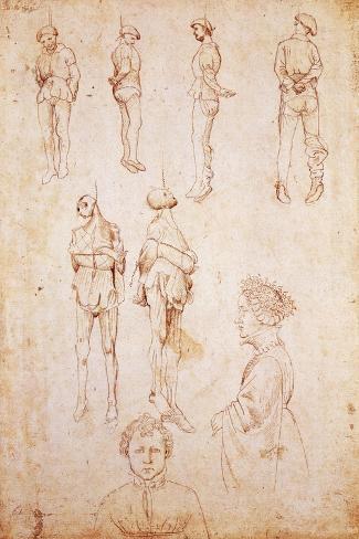Hanged Men and Two Portraits, Study for Saint George and the Princess, C.1430 Lámina giclée