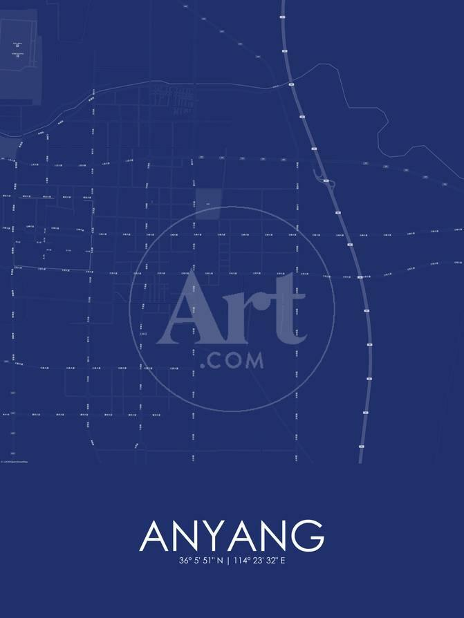 Anyang China Blue Map Prints At Allposters Com