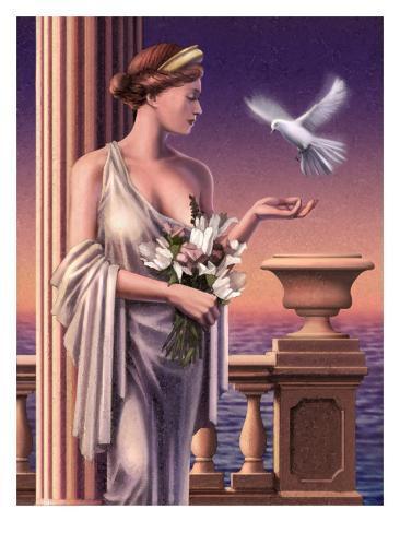 Aphrodite Feeding a Dove Stampa artistica