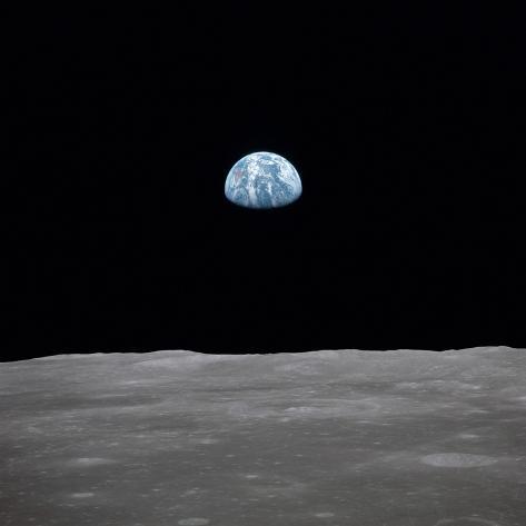 Apollo 11 Earth Rise over the Moon, July 20, 1969 Photo