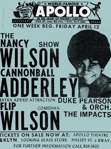 Apollo Theatre: Nancy Wilson, Cannonball Adderley, Duke Pearson, Flip Wilson, and The Impacts; 1968 Art Print