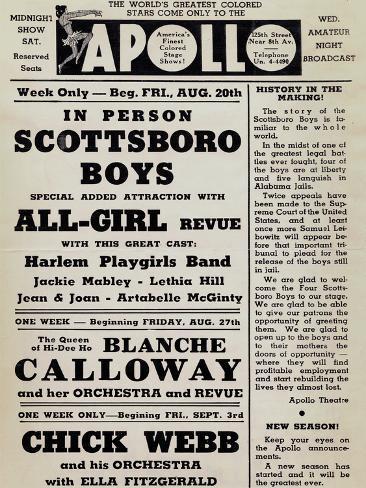 Apollo Theatre: Scottsboro Boys, Blanche Calloway, Chick Webb, Ella Fitzgerald, and More Art Print