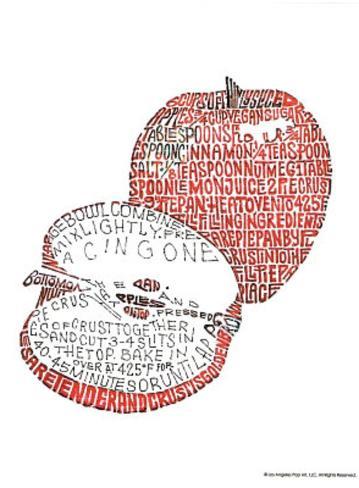 Apple Pie Recipe Text Art Print Poster Mini Poster
