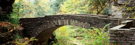 Arch Bridge in a Forest, Robert H. Treman State Park, Ithaca, Tompkins County, Finger Lakes Stretched Canvas Print