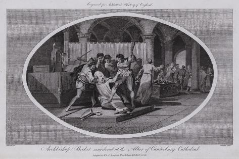 Archbishop Becket Murdered at the Altar of Canterbury Cathedral Giclee Print