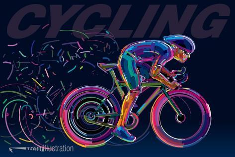 Professional Cyclist Involved in a Bike Race. Vector Artwork in the Style of Paint Strokes. Art Print