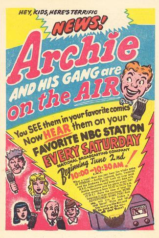 Archie Comics Retro: Archie and His Gang are on the Air! Radio Broadcast Advertisement (Aged) Stretched Canvas Print