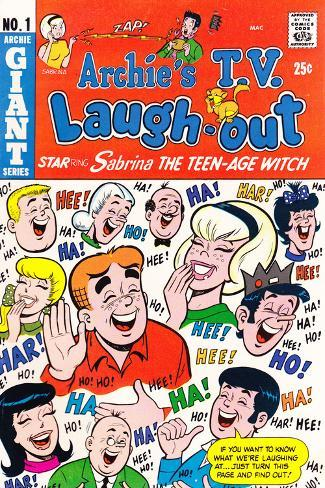 Archie Comics Retro: Archie's T.V. Laugh-out Cover No.1 with Sabrina the Teen-age Witch (Aged) Stretched Canvas Print