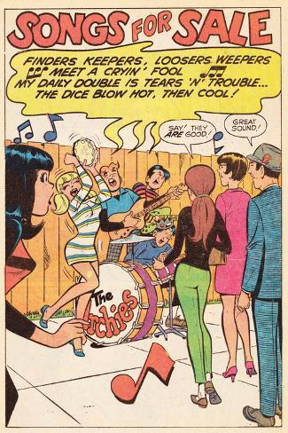 Archie Comics Retro: The Archies Comic Panel; Songs For Sale (Aged) Stretched Canvas Print