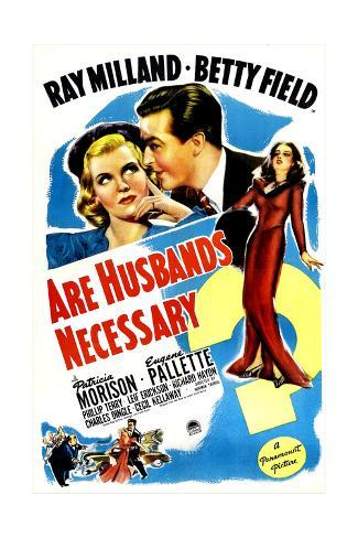 Are Husbands Necessary, US poster, Ray Milland, Betty Field, Patricia Morison, 1942 Lámina