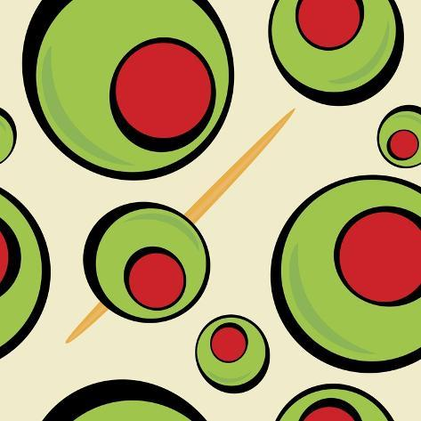 A Green Olives Pattern that Tiles Seamlessly in a Pattern in Any Direction. Great for a Martini Gra Taidevedos