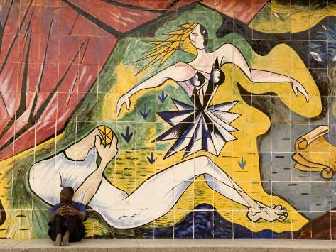 Mural on Old Theatre Building, Beira, Sofala, Mozambique Photographic Print