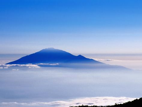 Peak of Mt. Meru Poking through Clouds, Mt. Kilimanjaro National Park, Kilimanjaro, Tanzania Photographic Print