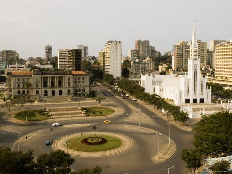 Town Hall, Catholic Cathedral and Roundabout, Maputo, Mozambique Photographic Print