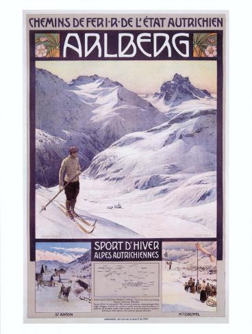 Arlberg Alpine Snow Ski Giclee Print