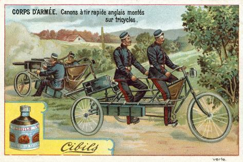 Army Corps - Quick-Firing English Guns Mounted on Tricycles Giclée-vedos