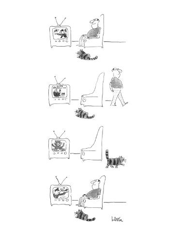 Cat and man are watching television; man steps away when 'human' commercia… - New Yorker Cartoon Premium Giclee Print