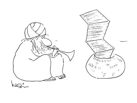 Indian snake charmer's playing causes fax paper to rise up in the air. - New Yorker Cartoon Premium Giclee Print