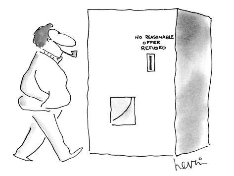 Man approaches vending machine that has a sign over the coin slot that rea… - New Yorker Cartoon Premium-giclée-vedos