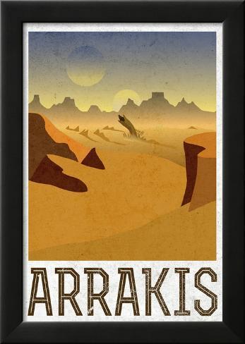 Arrakis Retro Travel Lamina Framed Poster