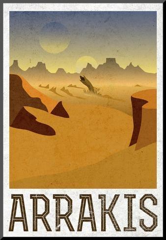Arrakis Retro Travel Print på trä