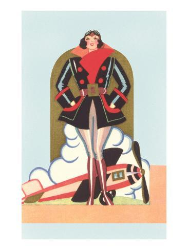 Art Deco Lady Pilot and Airplane Art Print