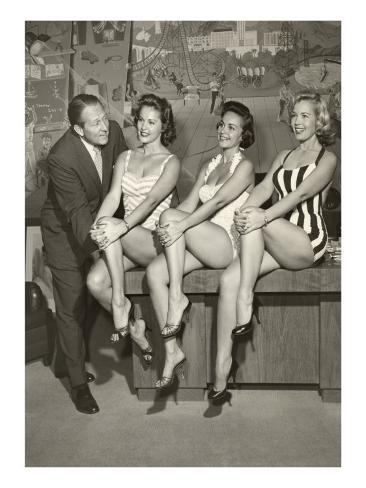 Art Linkletter with Bathing Beauties Stampa artistica