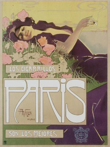 Art Nouveau Cigarettes, Los Cigarillos Women Smoking, UK, 1920 Giclee Print
