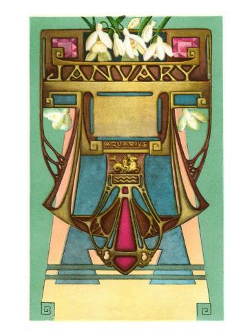 Art Nouveau January, Aquarius Art Print