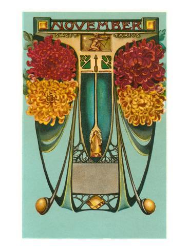 Art Nouveau November, Sagittarius Art Print