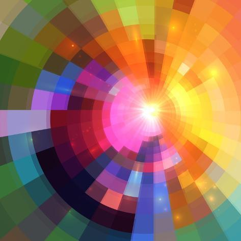 Abstract Colorful Shining Circle Tunnel Background Art Print