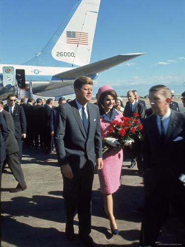 Pres. John F Kennedy and Wife Jackie at Love Field During Campaign Tour on Day of Assassination Photographic Print