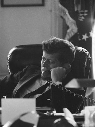 President John F. Kennedy on the Telephone in the Oval Office During the Steel Crisis Photographic Print