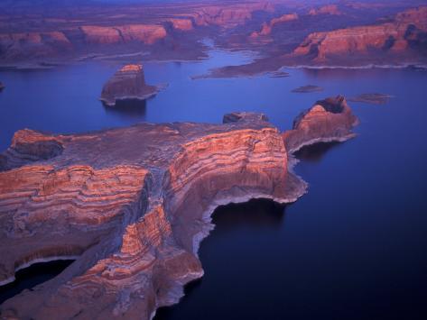 Aerial of Lake Powell, Glen Canyon NRA, Utah, USA Photographic Print