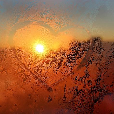 Love Symbol Drawn on the Frozen Winter Window Photographic Print