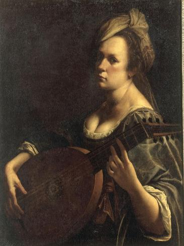 A Portrait of a Woman playing the Lute, possibly a Self-Portrait of the Artist, c.1615 Giclee Print