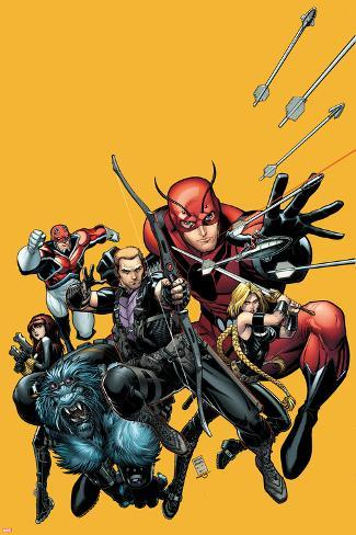 Secret Avengers No.22 Cover: Hawkeye, Beast, Valkyrie, Black Widow, Giant Man, and Captain Britain Poster