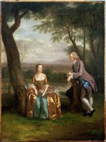 Portrait of a Couple, Possibly Daniel and Mary Swaine of Leverington Hall Giclee Print
