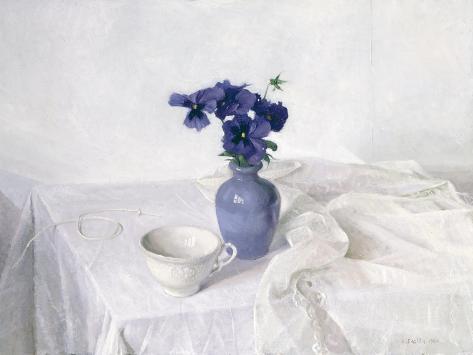 Pansies in a Blue Vase, Still Life, 1990 Giclée-vedos