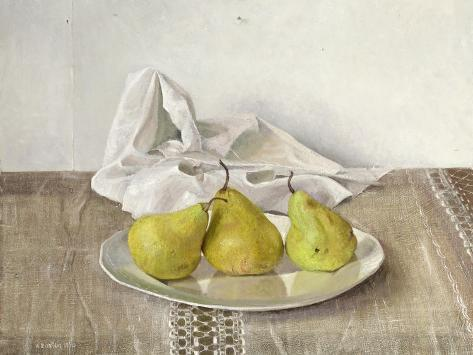 Three Pears on a Plate, Still Life, 1990 Giclée-vedos