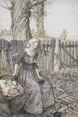 Bye, Baby Bunting.' Mother With Her Baby in a Cot. Father Going Hunting in the Background Lámina giclée
