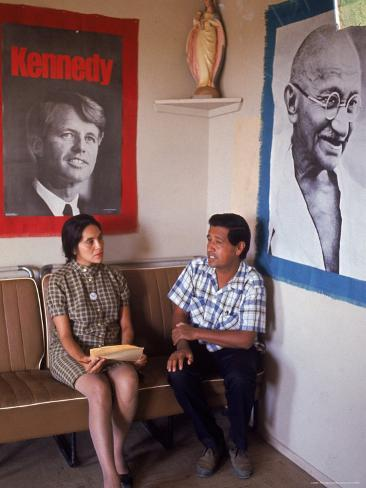 United Farm Workers Leader Cesar Chavez with VP Dolores Heurta During Grape Pickers' Strike Premium Photographic Print