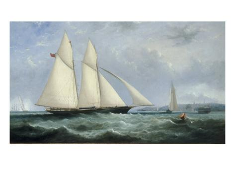 The Schooner Yacht 'Cambria', 188 Tons, Racing off Ryde, 1868 Giclee Print