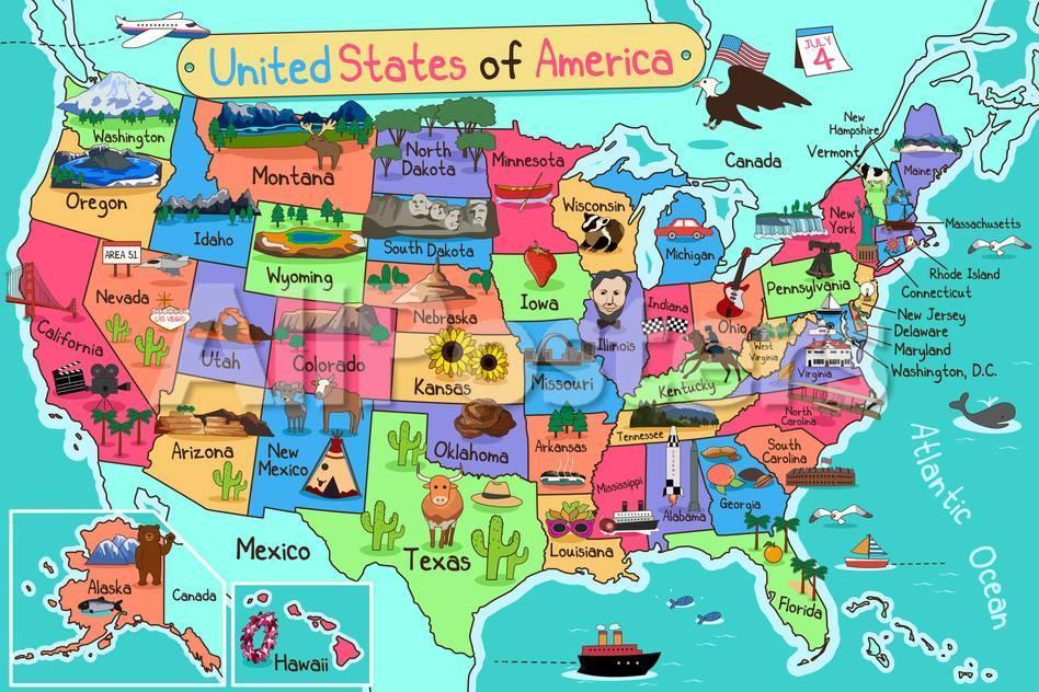usa map in cartoon style art artisticco llc allposters com usa map in cartoon style